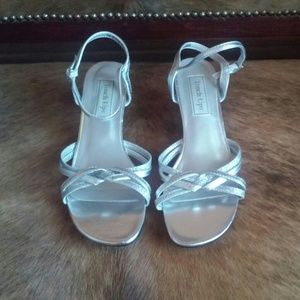 Silver Strappy Heels, Size 7
